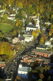 Aerial view of Stowe, VT in Autumn on Scenic Route 100 Stock Images