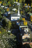 Aerial view of Stowe, VT in Autumn on Scenic Route 100 Stock Image