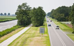 Aerial view of a straight  country road Royalty Free Stock Image