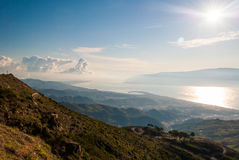 Aerial view of the strait of Messina Royalty Free Stock Images
