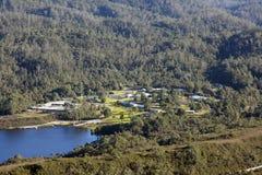 Aerial view of Strathgordon town in Tasmania Royalty Free Stock Photo