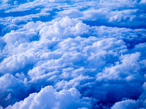 Aerial view of stratocumulus clouds in the evening. An aerial view of a layer of stratocumulus clouds in the evening, top-down perspective Stock Photo