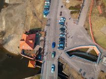 Aerial view of street in Grudziadz at Wisla river. Poland Royalty Free Stock Images
