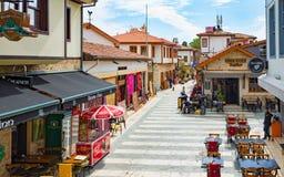 Aerial view of street in Kaleici district Antalya, Turkey Royalty Free Stock Photos