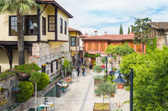 Aerial view of street in Kaleici district Antalya, Turkey Royalty Free Stock Image