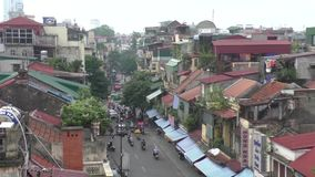 Aerial view of the street in old part of Hanoi stock footage