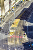Aerial view of  a street with rails for the tram Stock Images