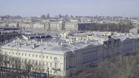 Aerial view of the streets and buildings of St. Petersburg stock footage