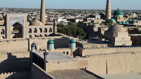 Aerial view on streets of the old city. Uzbekistan. Khiva. Aerial view on streets of the old city Uzbekistan  Khiva stock footage