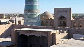 Aerial view on streets of the old city. Uzbekistan. Khiva. stock video footage