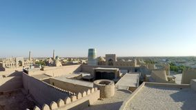 Aerial view on streets of the old city. Uzbekistan. Khiva. Aerial view on streets of the old city. Uzbekistan Khiva stock video