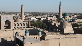 Aerial view on streets of the old city. Uzbekistan. Khiva. Aerial view on streets of the old city. Uzbekistan Khiva stock footage