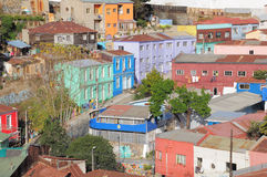 Aerial view of the streets of Valparaiso. Royalty Free Stock Images