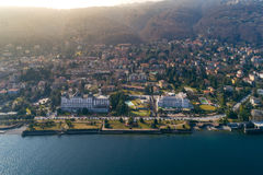 Aerial View of Stresa on lake Maggiore, Italy. Aerial photography with drone over Stresa and its islands on lake Maggiore, Italy Royalty Free Stock Photos