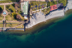 Aerial View of Stresa on lake Maggiore, Italy. Aerial photography with drone over Stresa and its islands on lake Maggiore, Italy Royalty Free Stock Photography