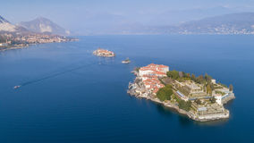 Aerial View of Stresa on lake Maggiore, Italy. Aerial photography with drone over Stresa and its islands on lake Maggiore, Italy Royalty Free Stock Images