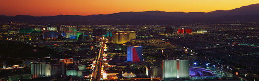 This is an aerial view of the strip showing an overview of the whole Las Vegas area at sunset. stock images