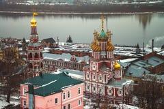 Stroganov Church in Nizhny Novgorod. Aerial view of Stroganov Church and river Oka in Nizhny Novgorod, Russia in winter Stock Photos