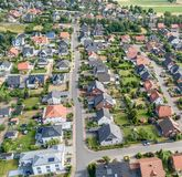 Aerial view of a suburb with detached houses, semi-detached hous Royalty Free Stock Photography