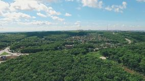 Aerial view of suburb of Samara city in Russia. Near of football stadium, daytime, summer stock video footage