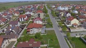 Aerial view of suburban bedroom community in Chisinau, Moldova. stock footage