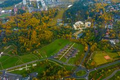 Aerial view of country side. Aerial view of suburban district at fall Royalty Free Stock Images
