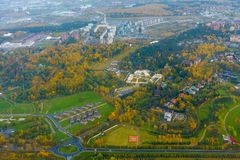 Aerial view of country side. Aerial view of suburban district at fall Stock Images