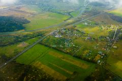 Aerial view of country side. Aerial view of suburban district at fall Royalty Free Stock Photos