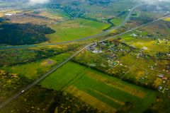 Aerial view of country side. Aerial view of suburban district at fall Royalty Free Stock Photo