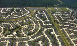 Aerial view of suburban neighborhood Royalty Free Stock Photo