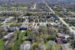Aerial View of Suburban Neighborhood Stock Photo