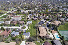 Aerial View of Suburban Neighborhood with Cul-De-Sac. Aerial view of a neighborhood in the suburban Chicago area with homes, cul-de-sac; parks, tennis courts and Royalty Free Stock Photography
