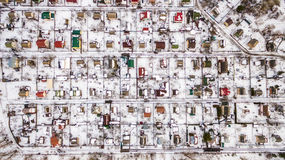 Aerial view of Suburban town in winter. Stock Photo