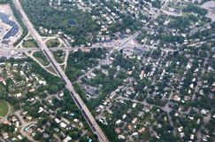 Aerial View of Suburbia Stock Photography