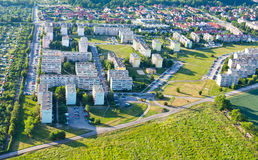 Aerial view of suburbs  Nysa city. Aerial view of suburbs  Nysa  city in Poland Stock Photo
