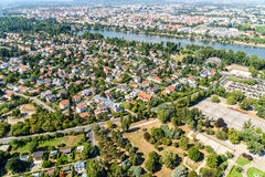 Aerial View Of Suburbs Roofs In Vienna Stock Images
