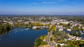 Aerial view of Suce sur Erdre in Loire Atlantique stock image