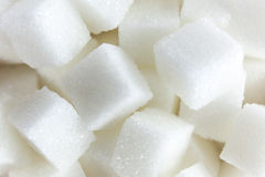 Aerial View of Sugar Cubes in Square Shaped Bowl on Isolated White Background. Stock Photo