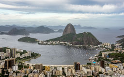 Aerial view of Sugarloaf mountain, boats floating in Botafogo Bay and cityscape, Rio de Janeiro Stock Photography