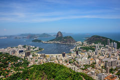Aerial view of the Sugarloaf mountain and Botafogo bay, Rio de Janeiro, Brazil Stock Photo