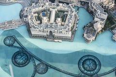 Souk Al Bahar, Dubai. Aerial view Dubai Souk Al Bahar and Dubai Fountain royalty free stock photo