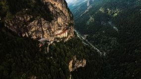 Aerial View Sumela Byzantine Greek Orthodox Monastery In Trabzon Turkey. Aerial View of Sumela Byzantine Greek Orthodox Monastery Forest and Mountains In Trabzon Royalty Free Stock Photography