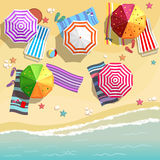 Aerial view of summer beach in flat design style. Slippers and towel, starfish and summertime, relaxation summer tourism, vector illustration royalty free illustration