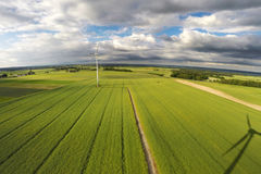Aerial view of summer field. With wind turbines, Poland Stock Photography