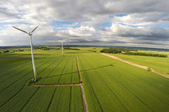 Aerial view of summer field. With wind turbines, Poland Royalty Free Stock Image