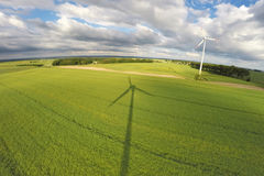 Aerial view of summer field. With wind turbines, Poland Royalty Free Stock Photos