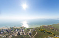 Aerial view of a summer house village at blue sea Royalty Free Stock Photography