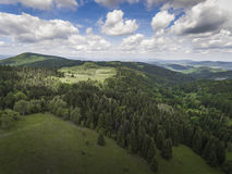 Aerial view of the summer time in mountains near Czarna Gora mou Royalty Free Stock Photo
