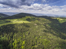 Aerial view of the summer time in mountains near Czarna Gora mou Royalty Free Stock Images
