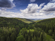 Aerial view of the summer time in mountains near Czarna Gora mou Royalty Free Stock Photos